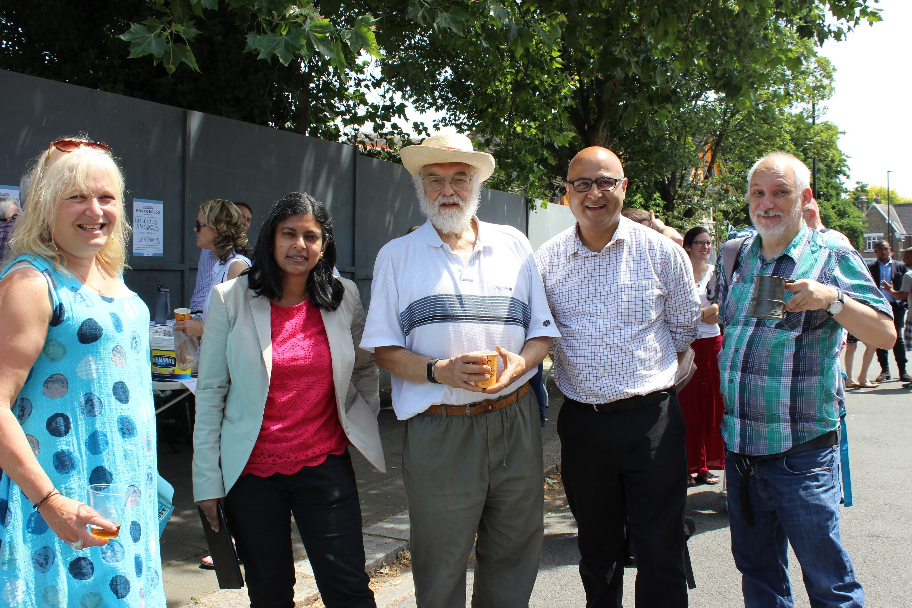 MP Rupa Huq, Councillor Hitesh Taylor and East Acton residents