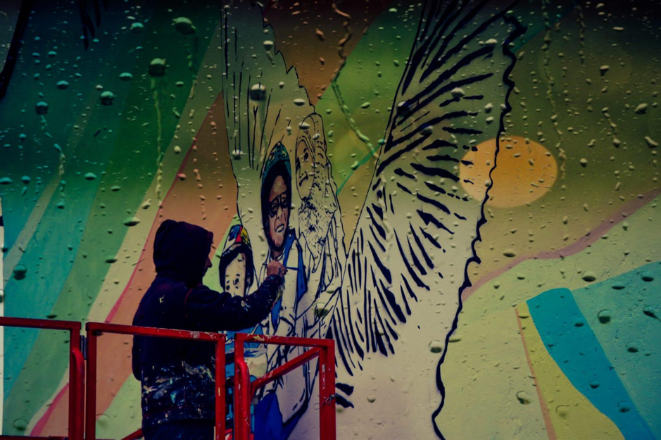 Leonard Lesic making MyMural (photo by Natasha Thompson)